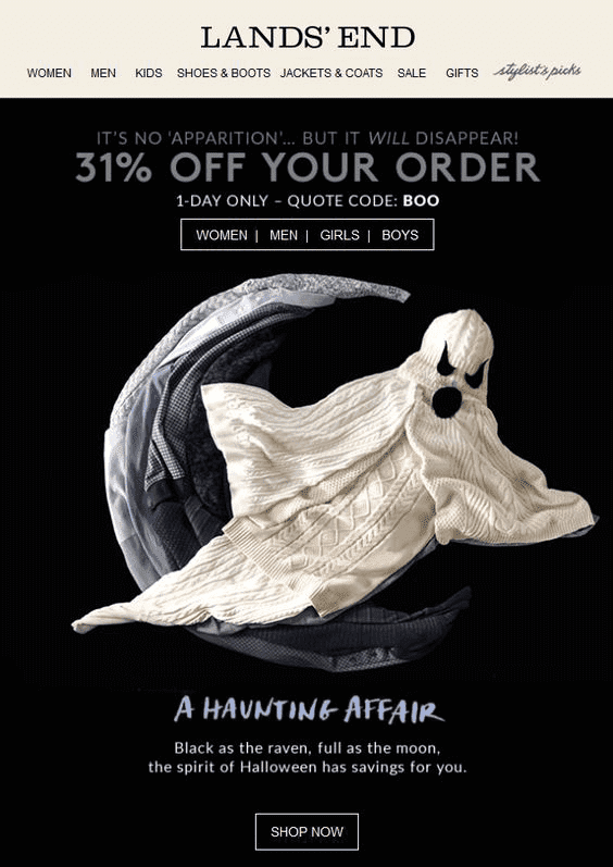 Halloween email example from Land's End