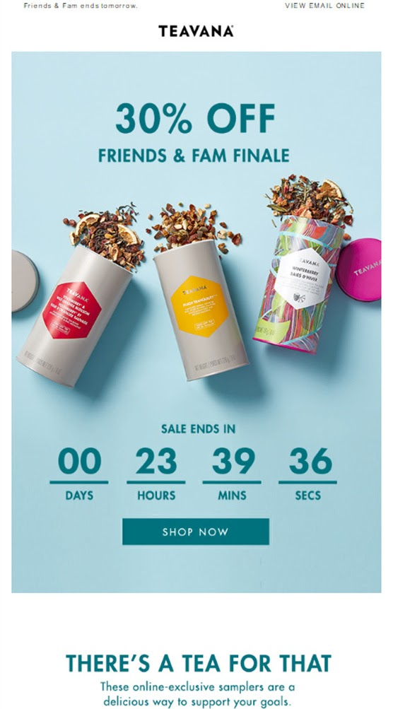 Example of promotional email from Teavana