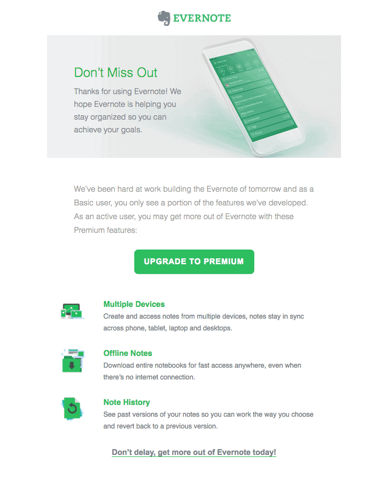 Example of promotional email from Evernote.