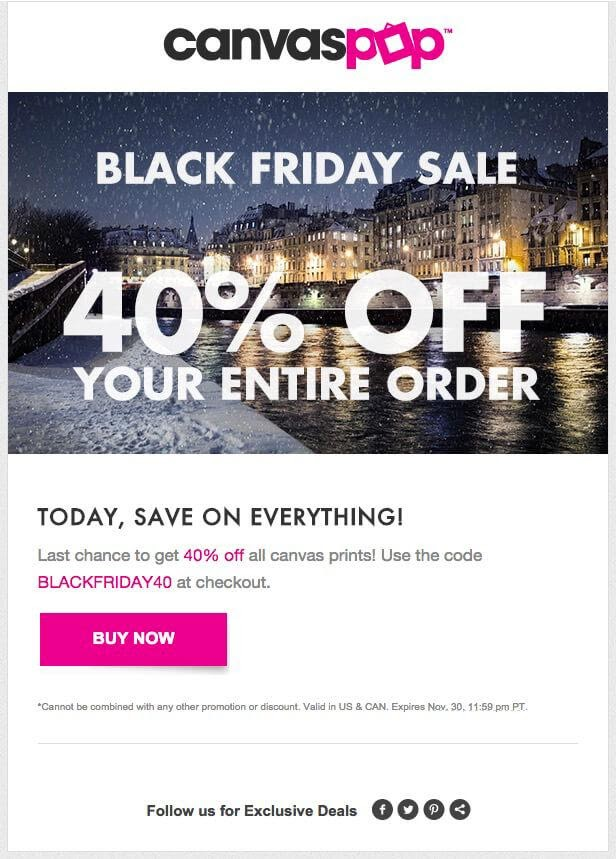 Example of promotional email from Canvaspop.