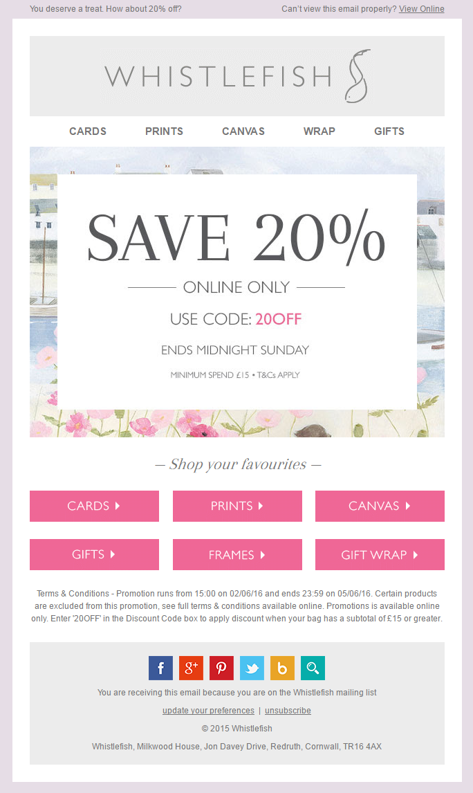 Promotional email example from Whistlefish