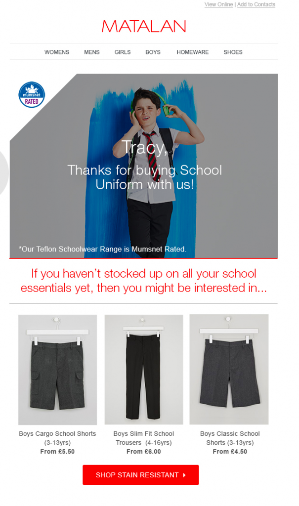 Continue purchase email example from Matalan