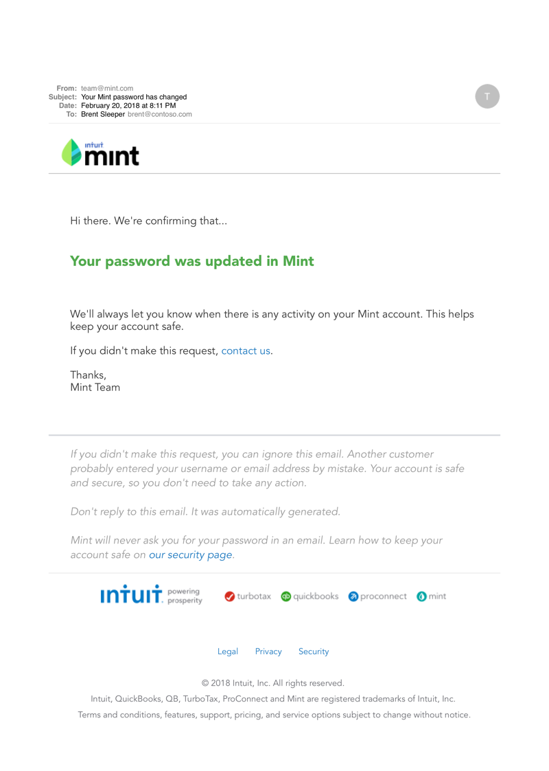 Notification email example from Mint