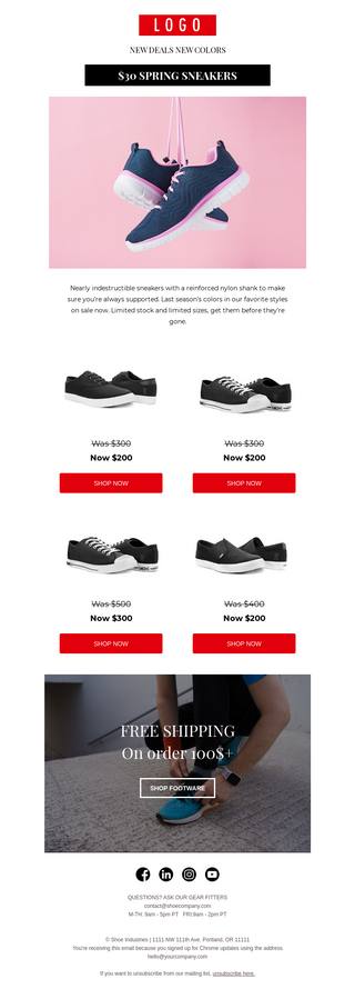 Shoe Deals Email Template