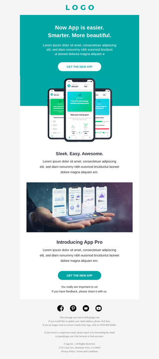 App Upgrade Email Template