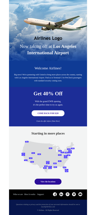 Airline Offer Email Template