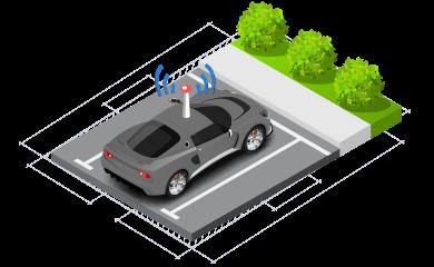 isometrio auto parqueado antena