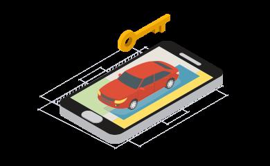 isometrico celular carro llave