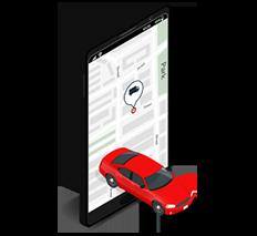Isométrico tablet con auto y mapa