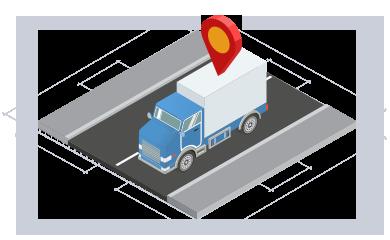 Isométrico camión en carretera con icono posición