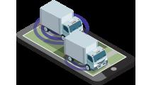 isometrico celular camiones localizacion ondas