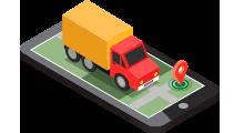 isometrico celular mapa camion localizacion