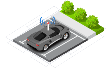isometrico auto parqueado antena