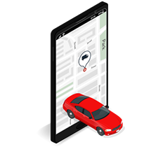 isometrico tablet mapa auto