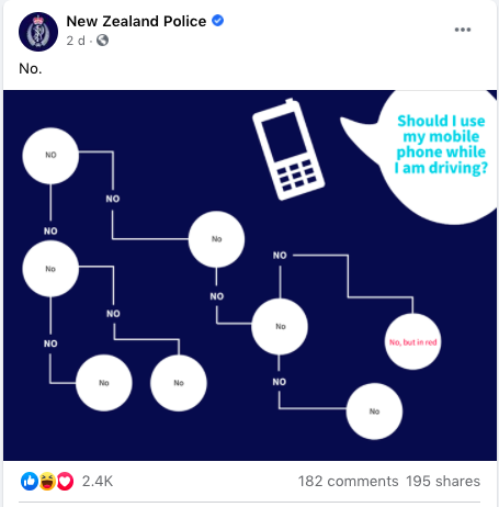 Facebook post from New Zealand Police