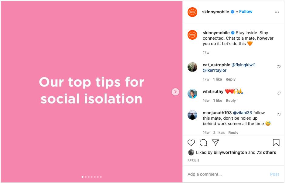 Instagram post from Skinny mobile
