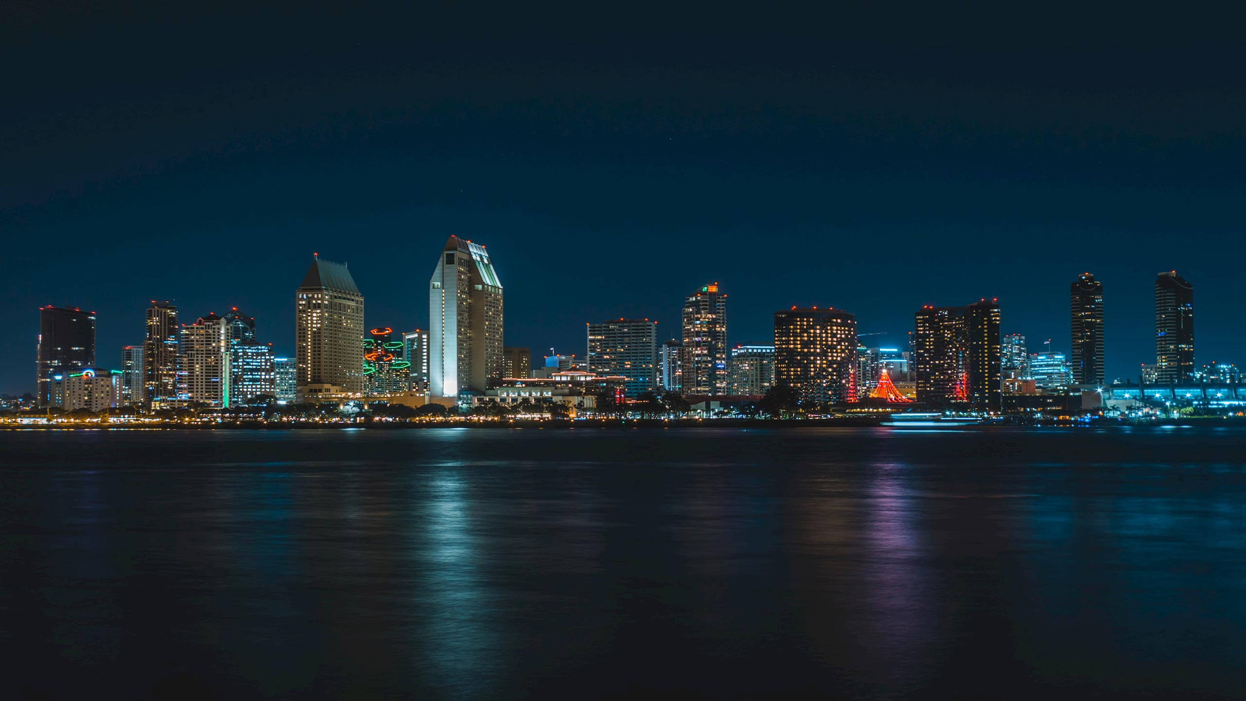 San Diego at night from ocean