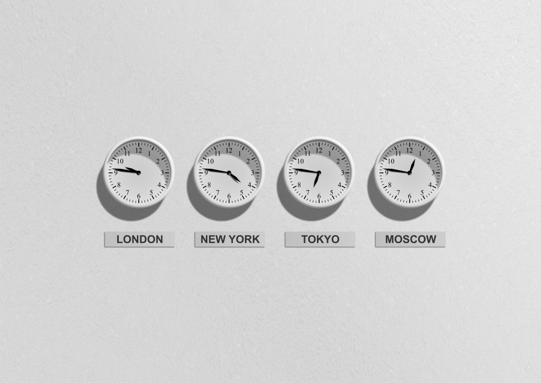 4 clocks with different times