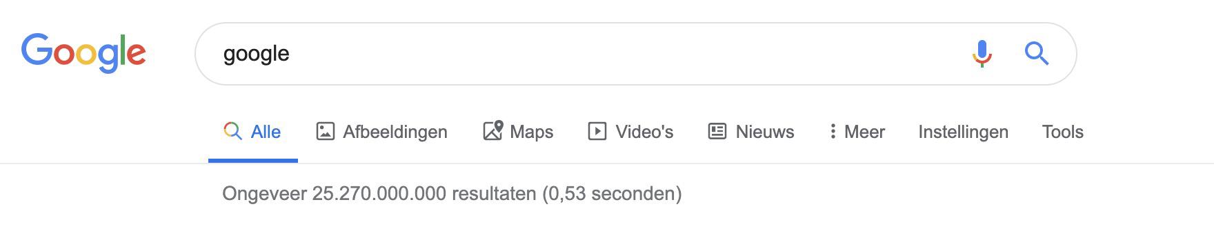 Google zoekresultaat pagina