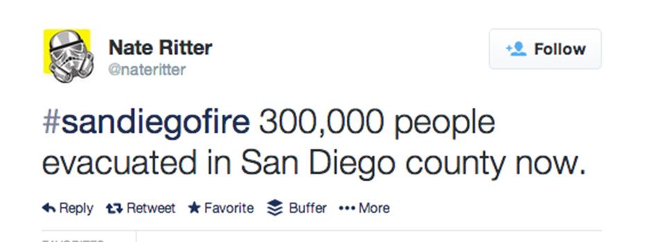 Nate Ritter sandiegofire tweet hashtag