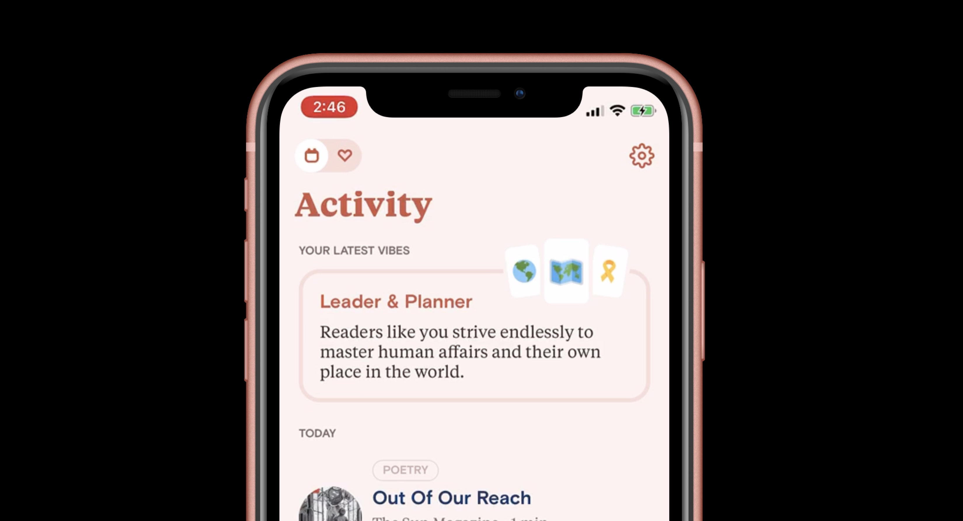 Close up of the Vibes section of the Activity tab