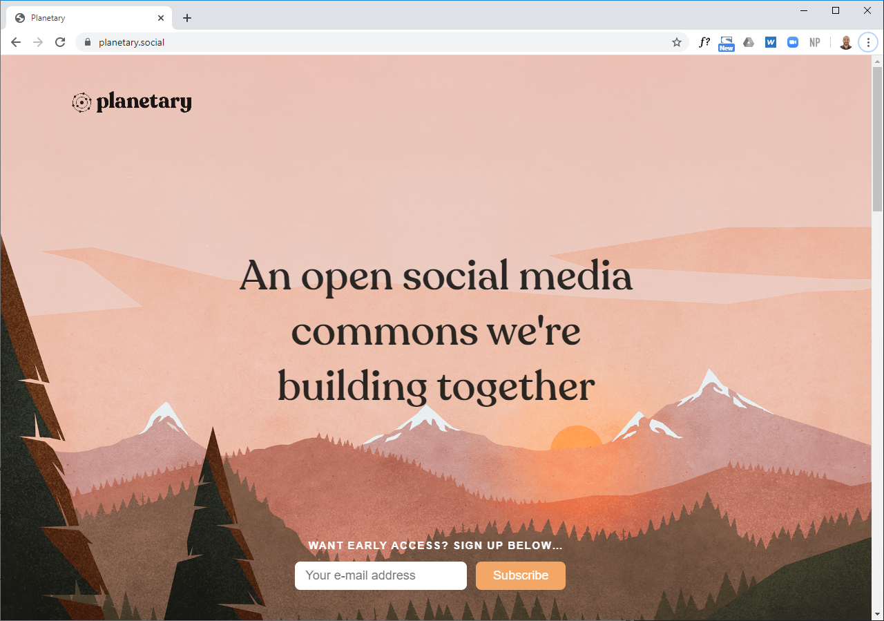 Screenshot of planetary.social
