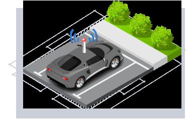 isómetrico auto con antena de detección parqueado