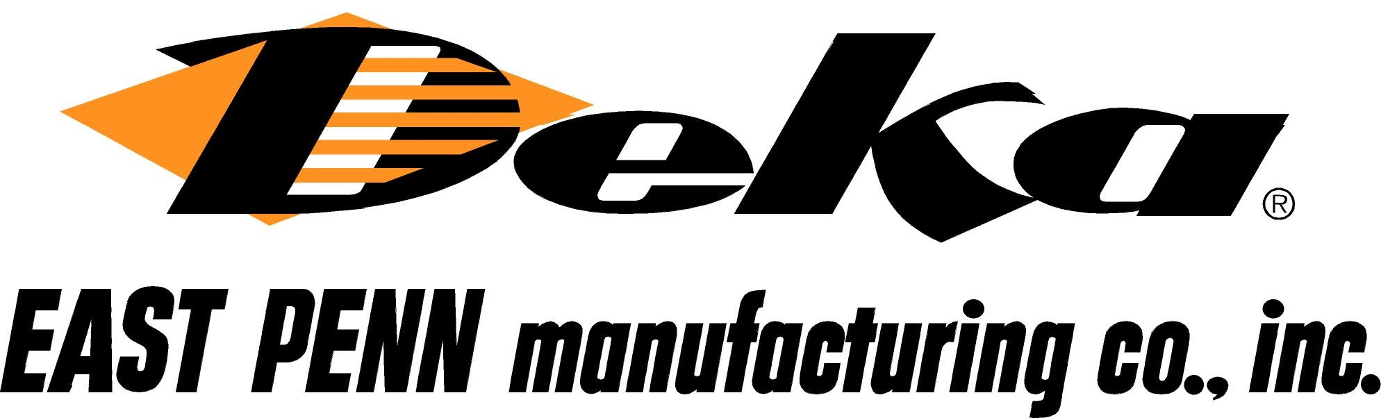 A logo of DEKA East Penn Manufacturing. DEKA East Penn Manufacturing is a private company and the world's largest single-site, lead-acid battery facility.