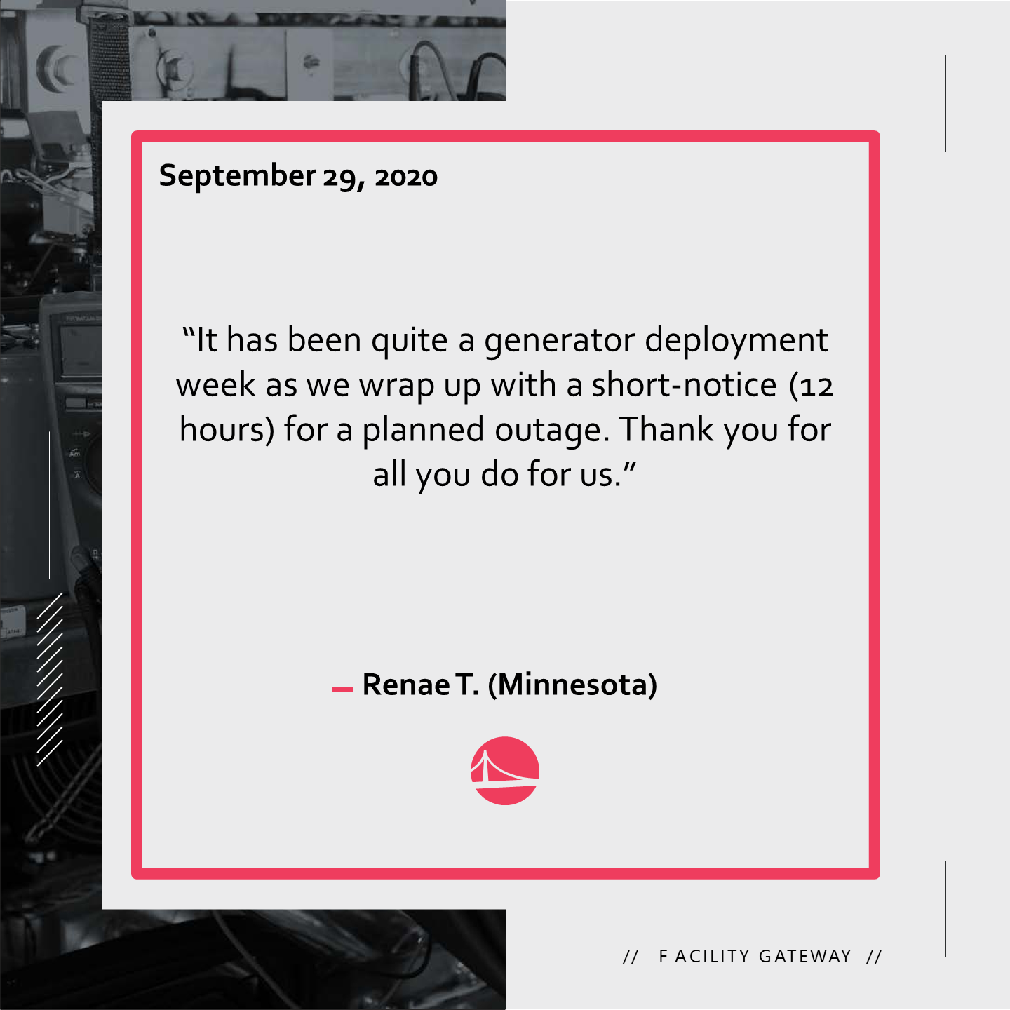 A customer review from Iowa regarding the great services received by one of our team members.