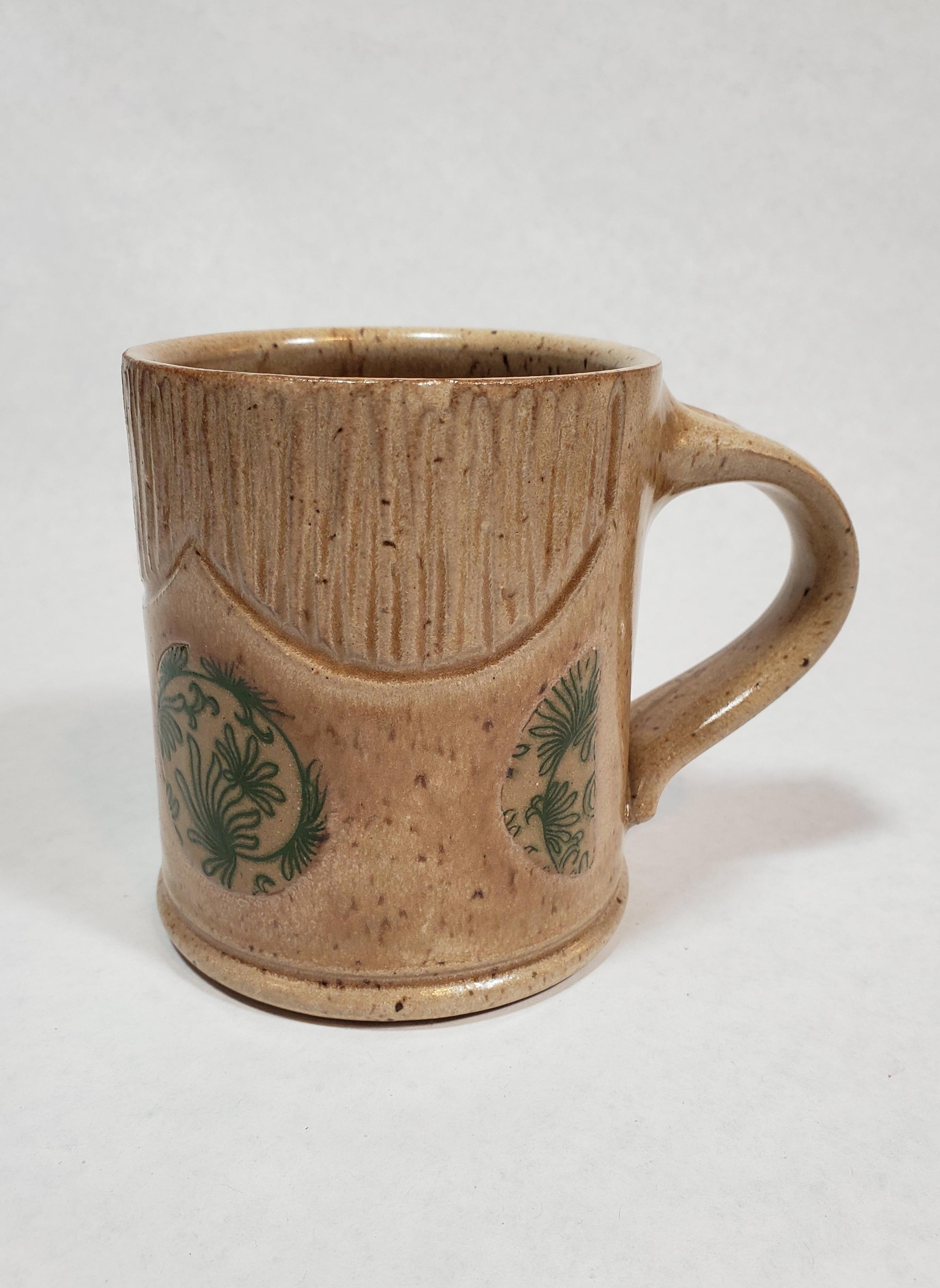Tan Mug, green floral