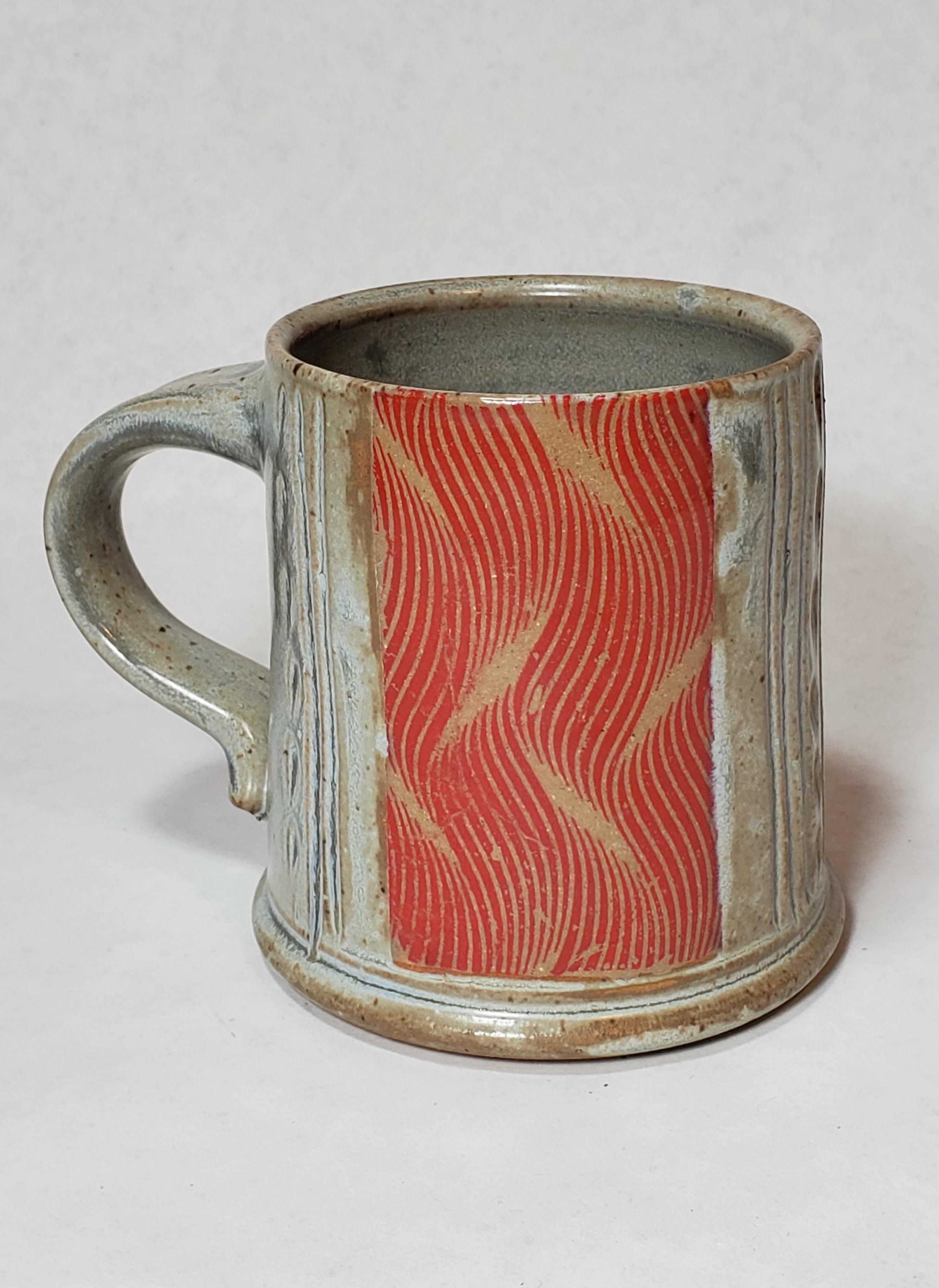 Grey Mug, red waves