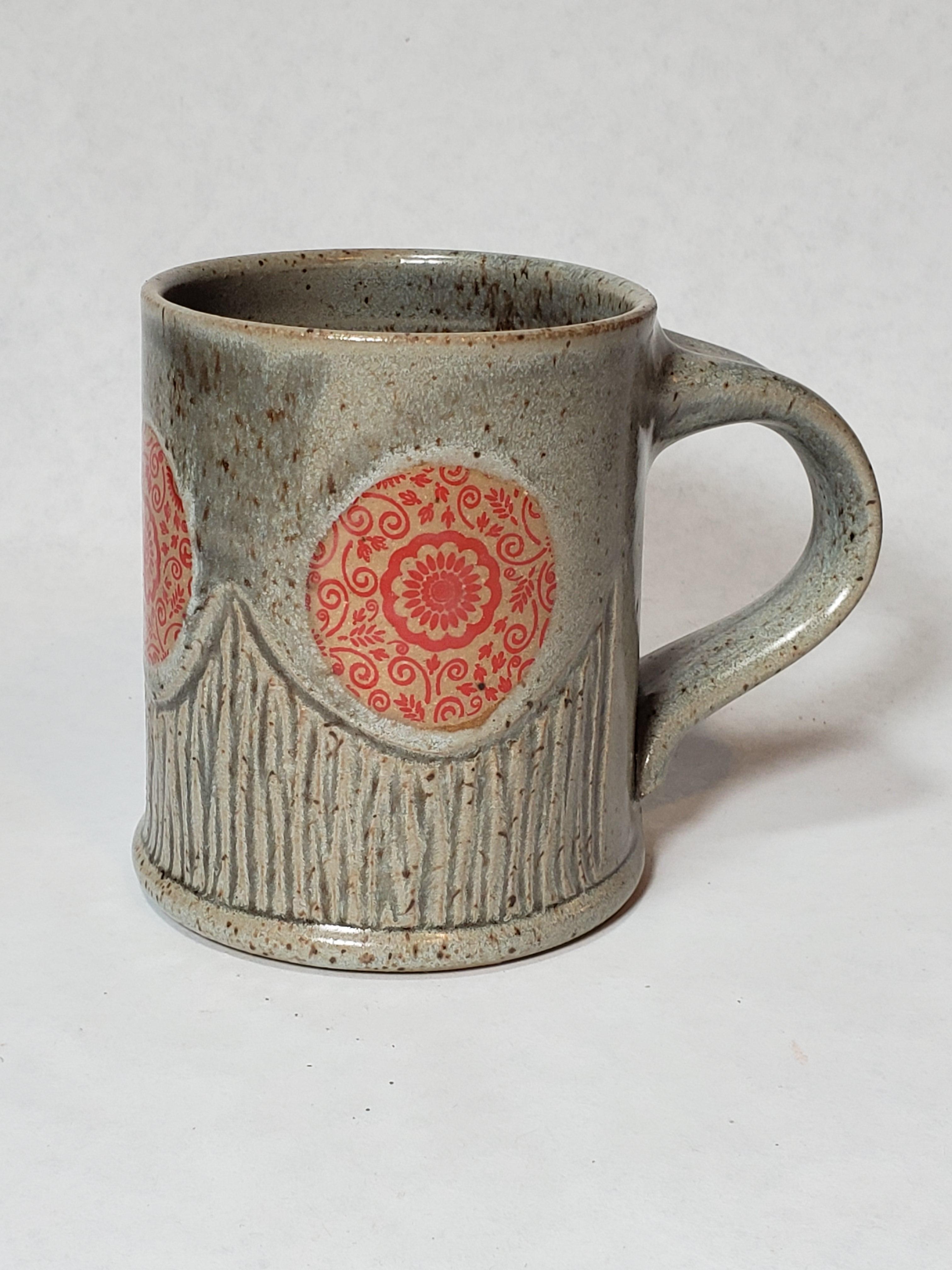 Grey Mug, red floral