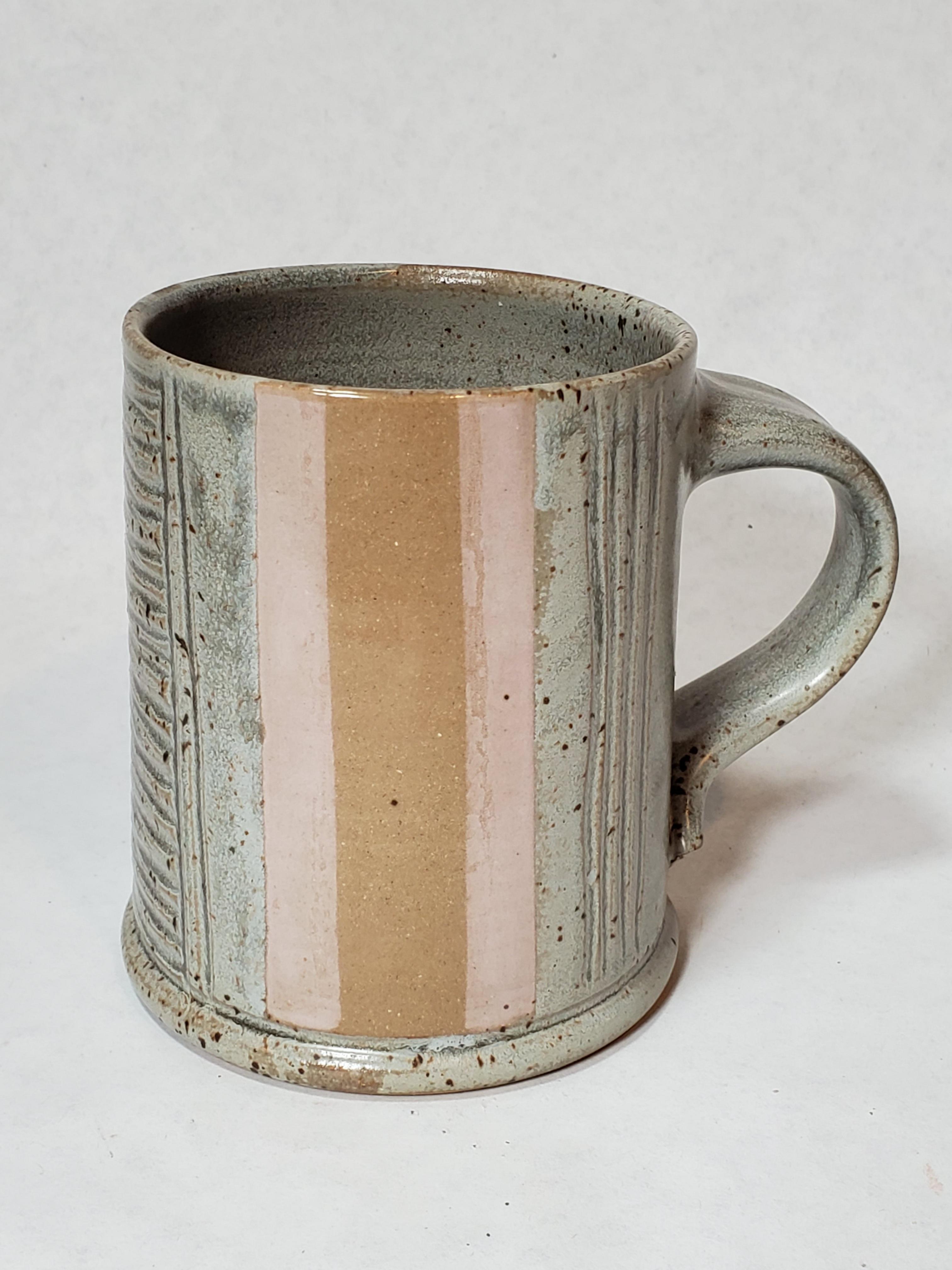 Grey Mug, pink stripes