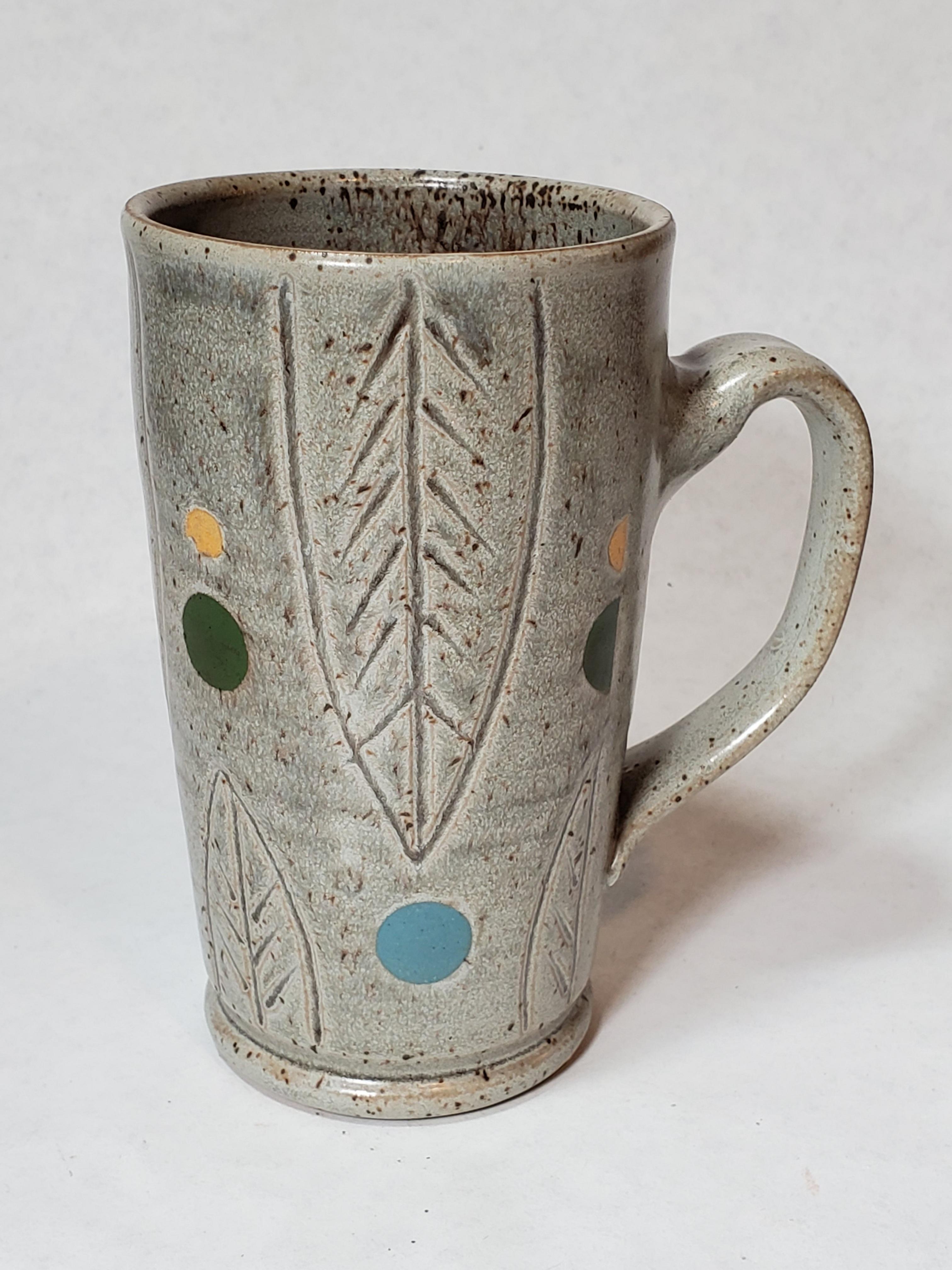 Tall grey Mug, leaves