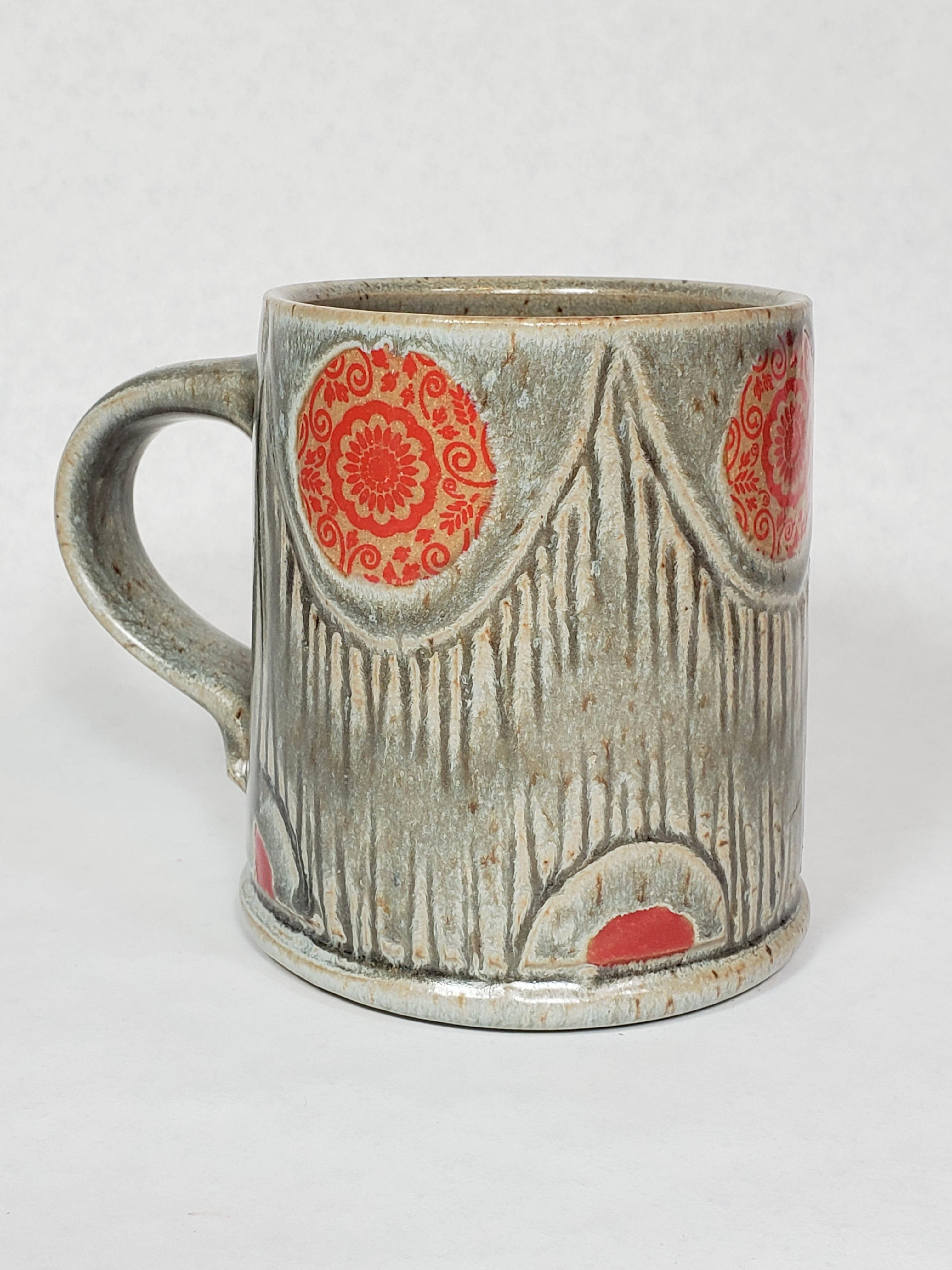 Grey Mug, small red floral