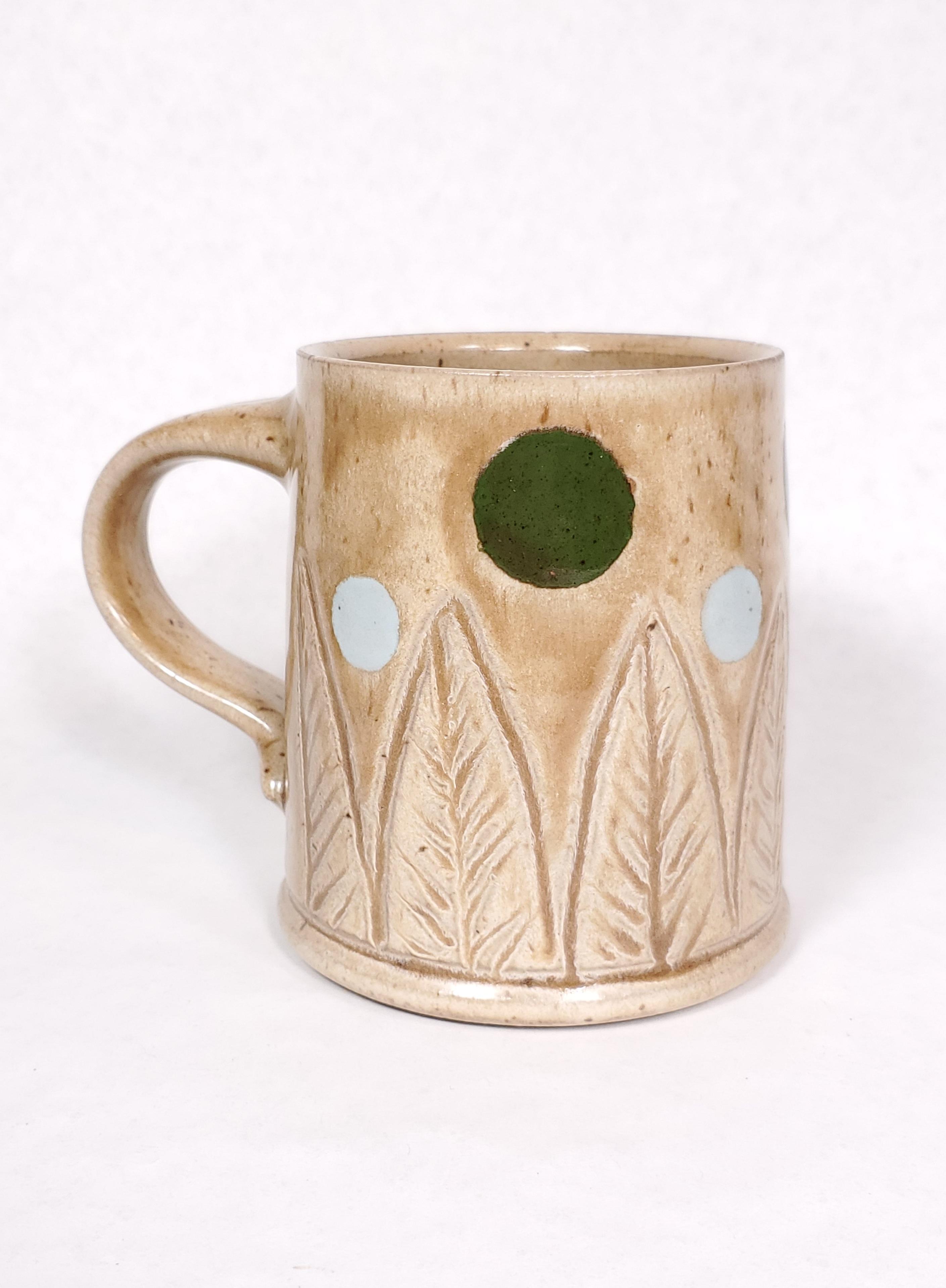 Tan Mug with leaves