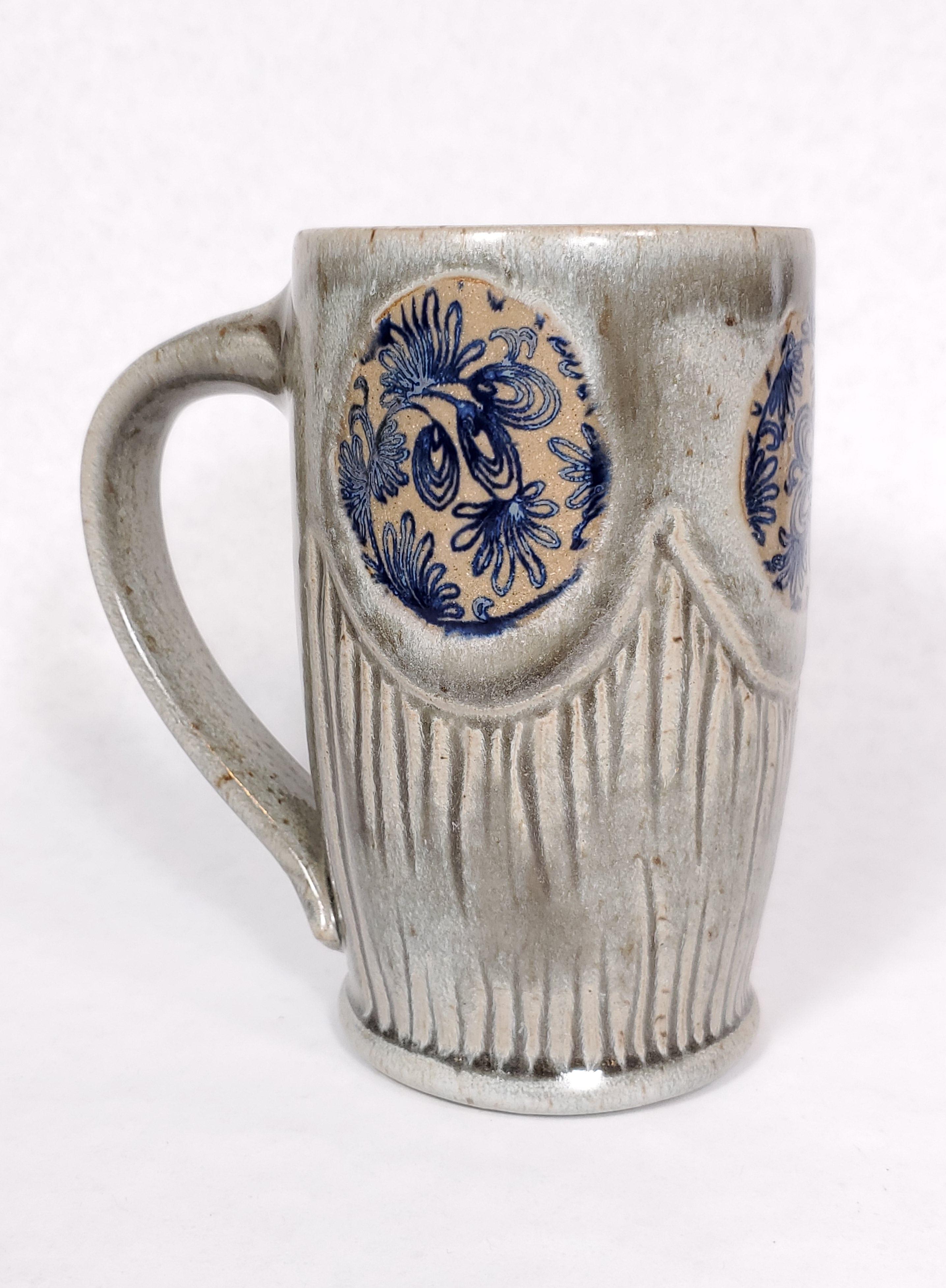 Tall Grey Mug, Blue floral