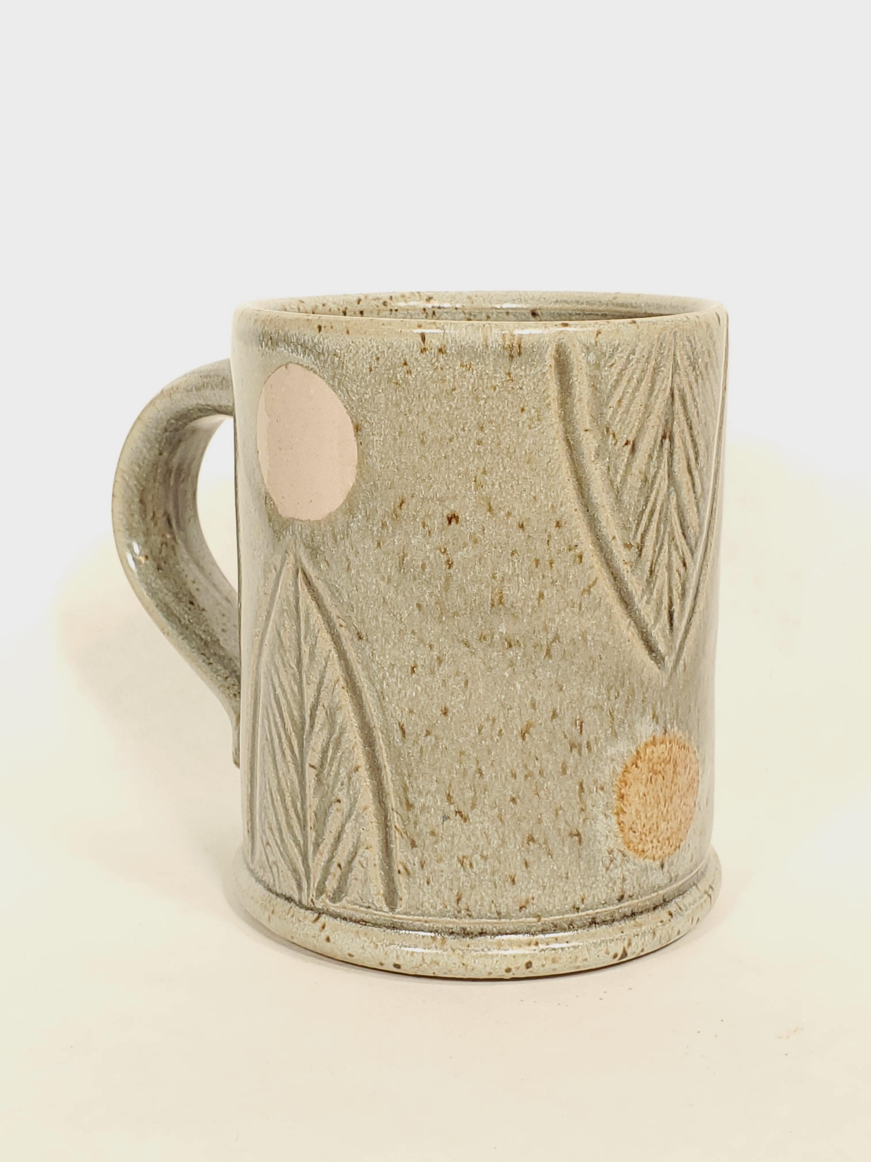 Mug, grey with pink and brown