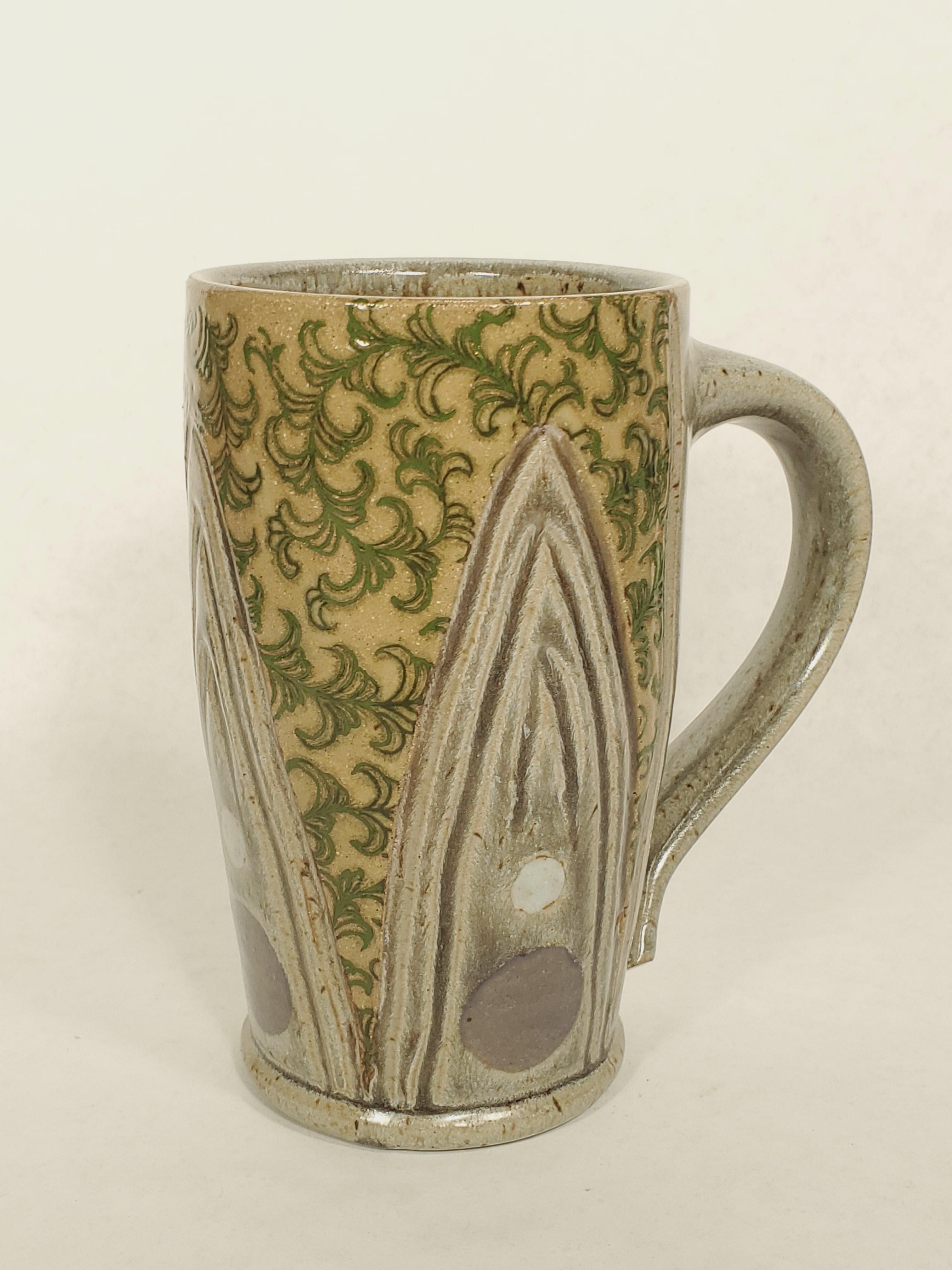 Tall Mug, grey with green swirl
