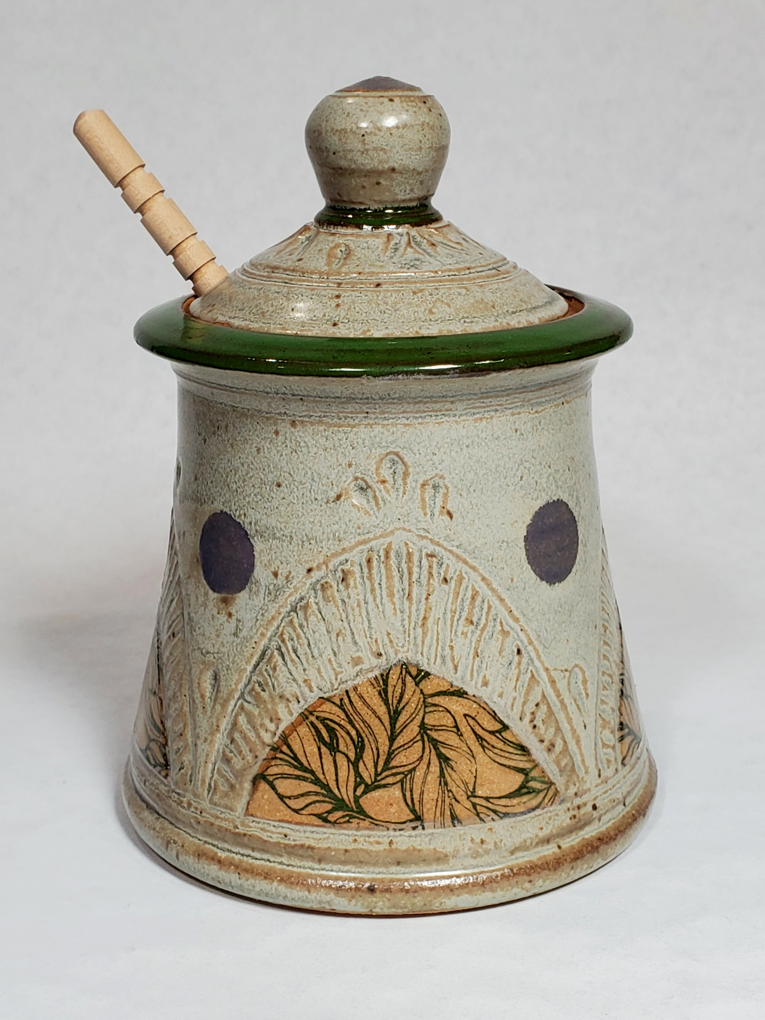 Honey Pot, grey with green leaves