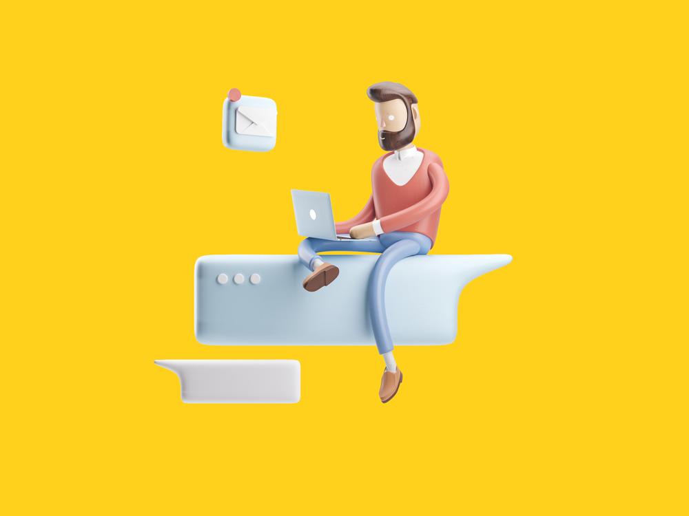 Ilustração de um homem sentado em um balão de chat com um notebook no colo