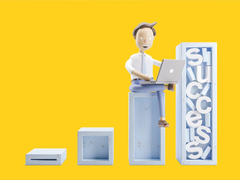 Ilustração de um homem sentado sobre uma coluna com um notebook no colo