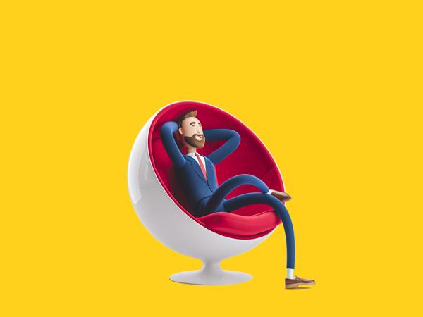 Ilustração de um homem sentado em uma poltrona olhando para frente