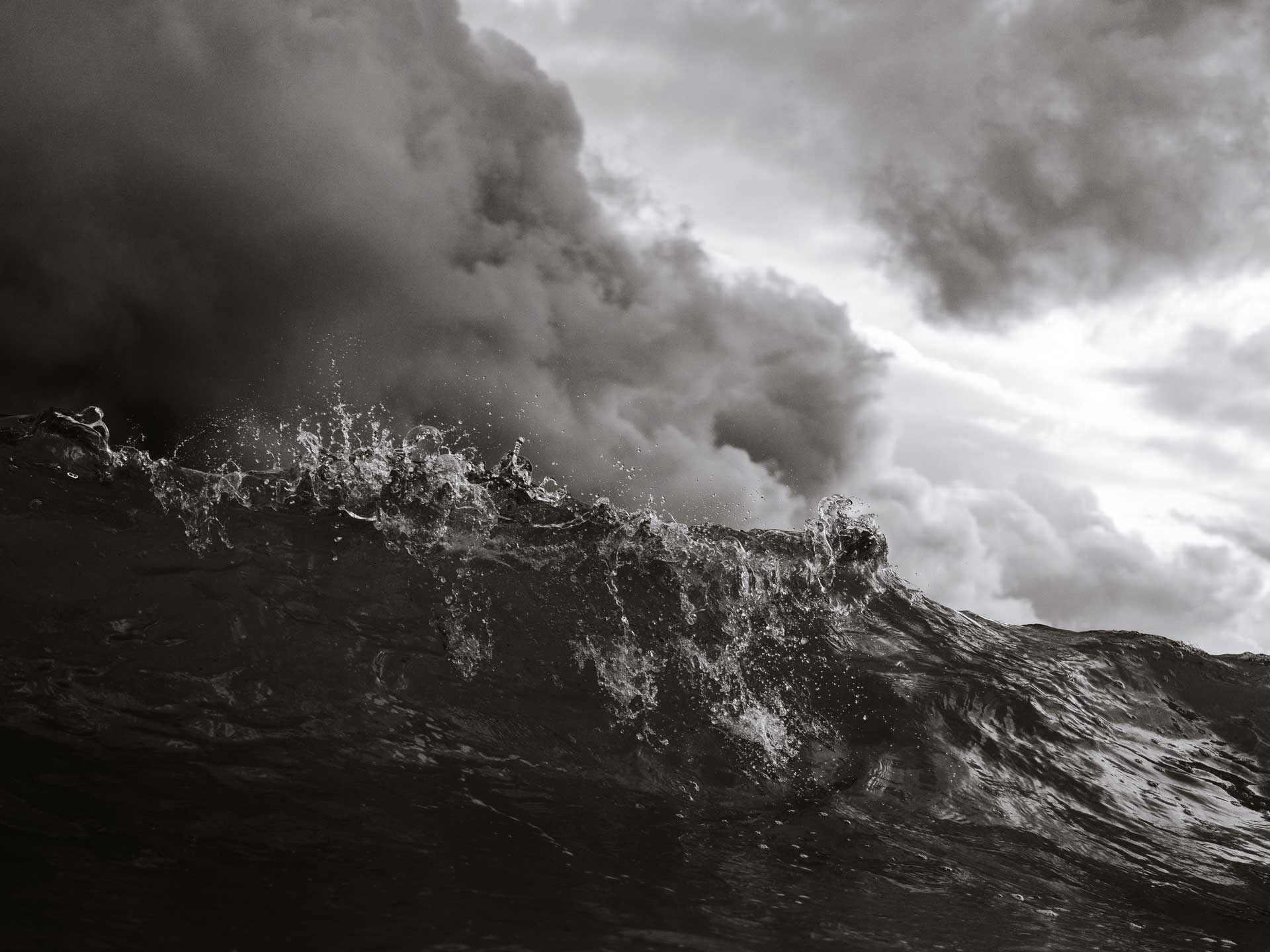 Black and white Storm waves