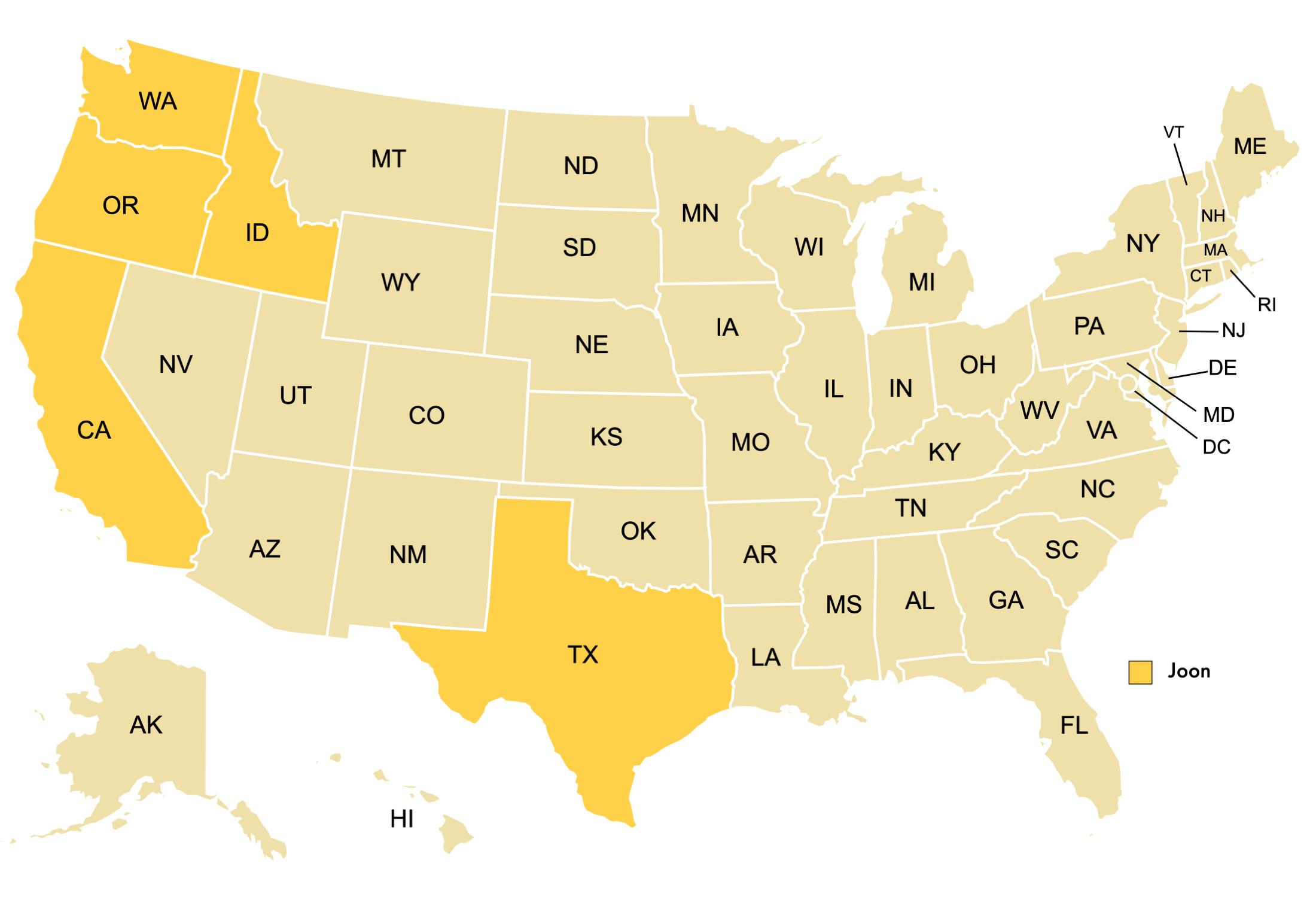 US states where Joon is available: Washington, Oregon, Idaho, California, and Texas.