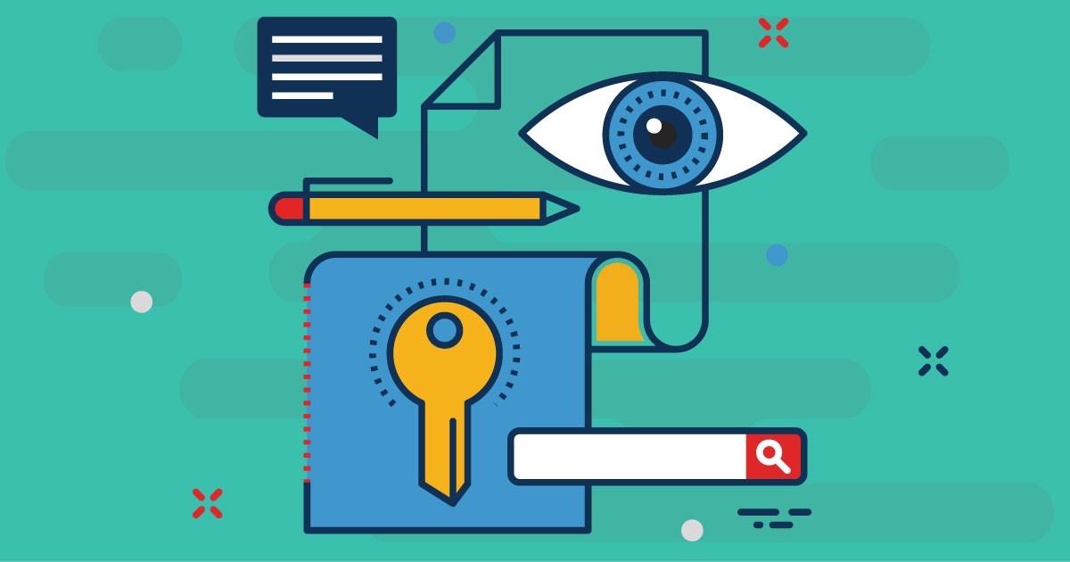 Key surrounded by a search bar and eyeball