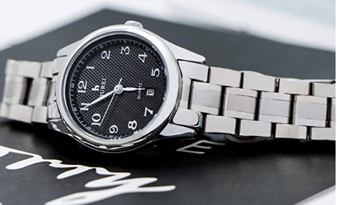 A classic silver watch