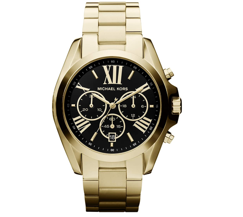 Gold link watch with black face