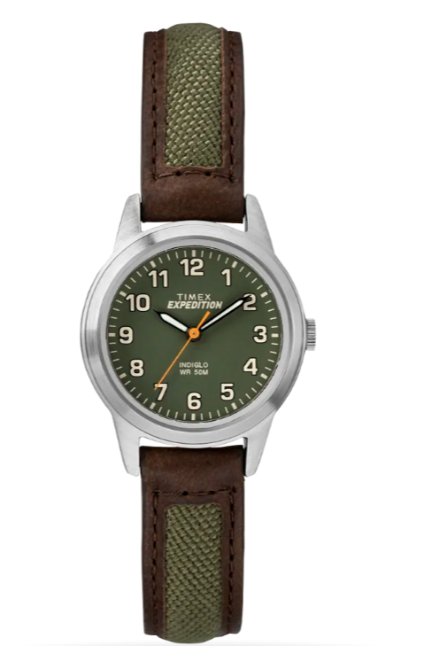 A green and brown watch, perfect for adventurers
