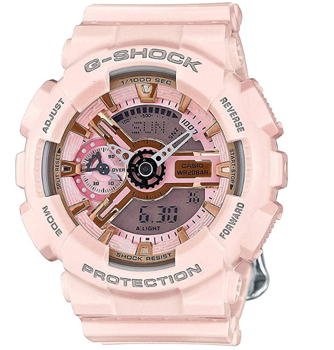 A chunky pink watch with many dials